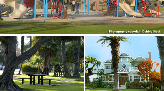 park benches, playgrounds